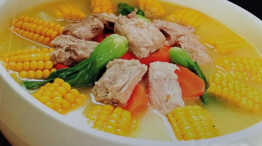 Corncoob and ribs soup